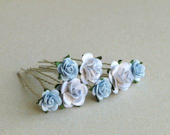 Periwinkle Blue Flower Hair Pins - Set of 7 - Made of mulberry paper flowers and U pins