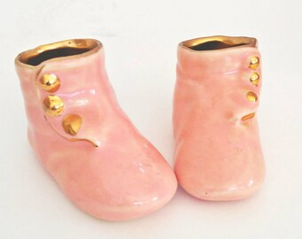 Vintage Pink and Gold Hand Painted Porcelain Baby Booties Mid Century Style