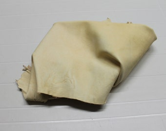 Italian thick vegetable tan Lambskin leather hide hides skin skins UNFINISHED BUTTER CREAM #9997  5sqf