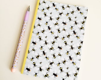 Bees Pocket Notebook - A6 Lined Notebook - Pocket Journal - Bee Journal - Bee Stationery - Bee Gift - Bumblebee Notebook