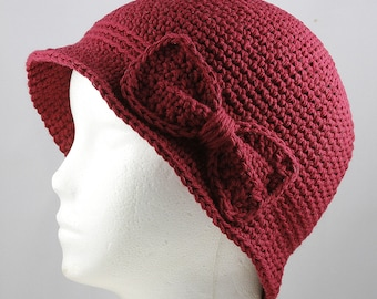 Burgundy Cloche Hat for Cancer Patients - Chemo Hat/Cancer Hat/Chemo Cap/Cancer Cap