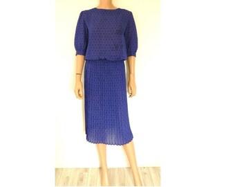 ORIGINAL 80's, Vintage Semi Sheer Polka Dot Cobalt Blue, Red and White Secretary Dress, Tea Dress, Occasion Dress, Vintage Dress, Day Dress