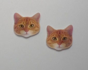 Handcrafted Plastic Orange Tabby Cat Head Stud Earrings