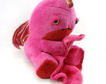 Sleepy Dragon plush -  fuschia body/ red tummy / red iridescent wings