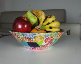 Colorful Bowl, Paper Mache flowers, Paper Bowls, Medium bowl, Fruit Bowl, Rustic Bowl, New home Gift,Wedding Gift, Handmade Paper Mache Bowl
