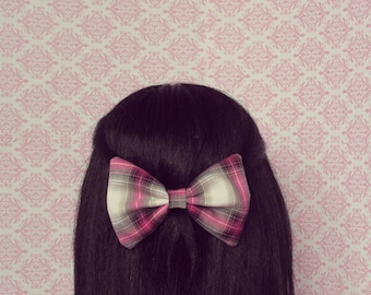 Rag and Bow Pink Plaid Hair Bow - French Barrette, Fall Autumn Fashion Hair Accessory, Big Hair Bow