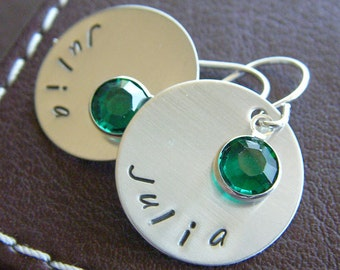 Personalized Earrings - Hand Stamped Sterling Silver Charms with Birthstone Drops