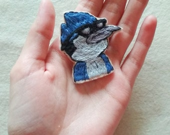 Regular Show Mordecai hand embroidered brooch