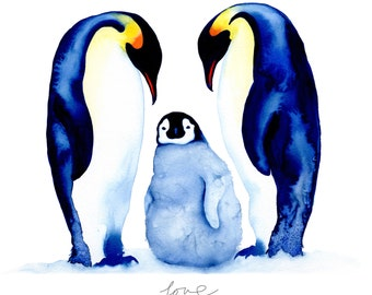 Love a Penguin family A3 art print for children and the romantic at heart in blues and orange