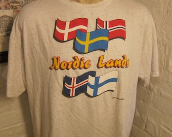 Size XL (50) ** 1980s Nordic Flags Shirt (Single Sided)