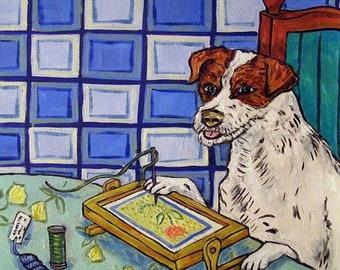 25% off Jack Russell Terrier Doing Needlepoint Dog Art Tile