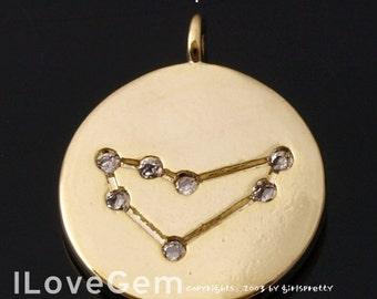 12-ZO-GO Gold Plated, Constellation Necklace, Zodiac Sign Jewelry , Capricorn, 11mm, Zodiac Pendant, 1pc