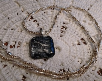 Art Glass/ Black/Silver Pendant:  Silver-Gold Necklace