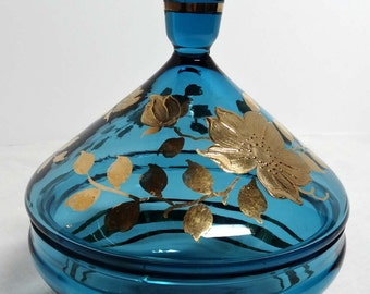 Aqua Glass Lidded Candy Dish Gold Leaf with Dogwood Motif Home and Garden Kitchen and Dining Serveware Tableware Bowls