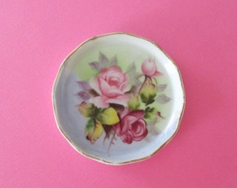 Lefton Hand Painted Trinket Dish - Dresser Accent with Roses - Hair Pin Dish - Flowers Floral