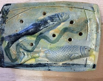 Handmade blue ceramic soap dish with fish decoration OOAK.