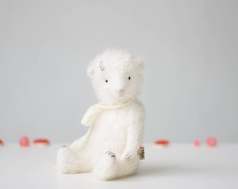 Made To Order White Mohair Teddy Bear Silk Ribbon 7 Inches, Stuffed Animal, Handmade Toy, Personalized Gift, Gift For Her