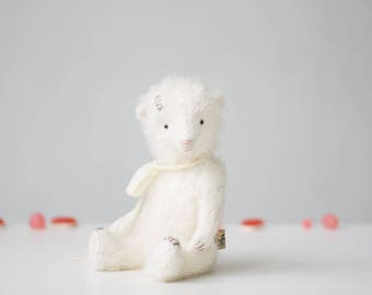 Stuffed Animal White Mohair Teddy Bear Silk Ribbon 7 Inches, Stuffed Bear, Handmade Toy, Personalized Gift, Gift For Her