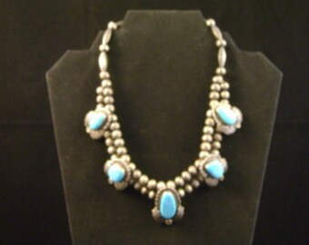 Vintage Necklace with Rare Turquoise Centerpiece and Handmade Beads, Native American Made.
