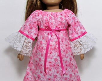 "18"" Doll Clothes fit American Girl  Gypsy Boho Style Bohemian Lacy Peasant Maxi Dress PINK ROSE"