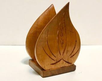 Vintage KOA Wood Anthurium flower Napkin or Letter Holder, made in Hawaii, hand carved