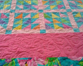 Flamingo Full Bed Quilt,Tropical Quilt, Patchwork, Layaway Available