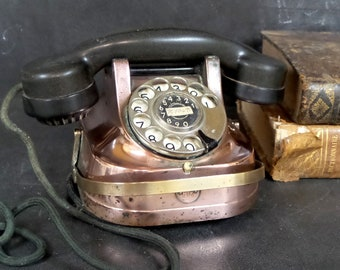 1930s Copper and Brass Telephone with Bakelite Handset.