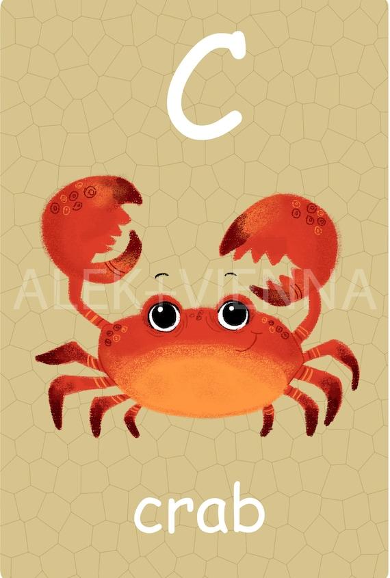 English Animal Alphabet Card Set Nursery Wall Cards Animal