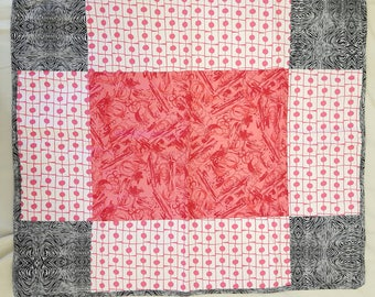 Black and Pink Baby Quilt