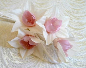 Silk Millinery Flowers Spray of 4 on Silk Stems Ivory Pink Blush for Bridal Bouquets Weddings Hats Corsage 1FN0005OR