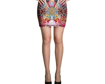 BAROCOCO Royal Blue Decoratives Devarshy Spandex Mini Skirt PF - 1053A