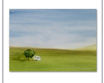 "ACEO Print of Acrylic Painting of ""A Caravan, A Book and A Bottle of Vino"" by Kylie Fogarty Art"