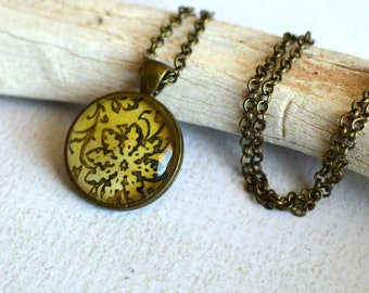 Glass Flower Pendant with Chain- Bronze Flower Pendant- Round Yellow Flower Necklace- Earthy Pendant- OOAK Flower Necklace- Upcycled Paper