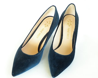 Blue Velvet Nine West Pumps- Blue Wedding Shoes- Bridesmaid Shoes- Wedding Shoes- Mother of the Bride Shoes- Elegant Shoes- Formal Shoes