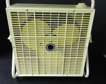 Working Sears Roebuck Kenmore Box Fan, Large Two-Speed Adjustable Fan, Tilts, Pale Green and Yellow