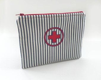 First aid pouch, zippered bag, travel bag, medicine kit, Red Cross