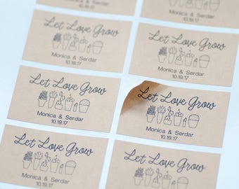 Let Love Grow, Stickers, Seed Packet, Kraft Labels, Wedding Favors,Envelope Seals,Bridal Shower,Wedding Personalized,Thank You Stickers