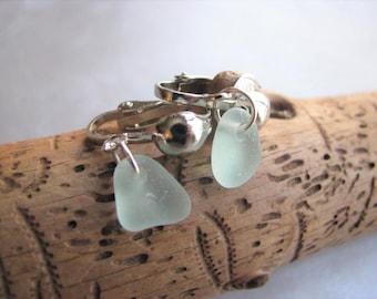 Mothers Day Sea Glass -Aqua Blue Sea Glass Earrings - Clip On Earrings - Beach Glass Jewelry - Mermaid Tears Sea Glass - Holiday Special