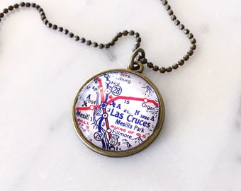 Las Cruces Map Necklace - Las Cruces Necklace - Las Cruces Charm Necklace - New Mexico Necklace - New Mexico Jewelry