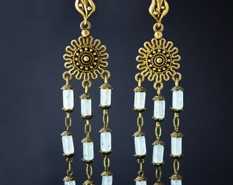 Boho Earrings Long Earrings Boho Jewelry Long Boho Earrings Victorian Earrings Chandelier Earrings Blue Dangle Earrings Boho Cluster Earring