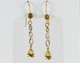 14k Yellow Gold Citrine Dangle Drop Earrings
