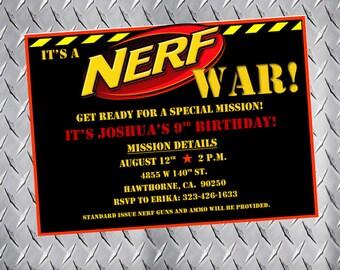 Nerf Party Invitations, Nerf Birthday Invitations, Nerf Bday Invites, Nerf Party Invites, Nerf gun party, nerf war, dart gun party