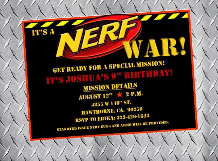 Nerf Party Invitations Nerf Birthday Invitations Nerf Bday