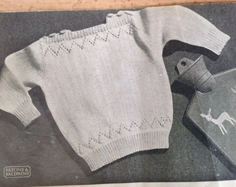 Vintage knitting pattern, baby jumper