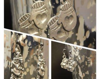 Christmas Earrings, Reindeer Earrings, Snowman Earrings, Tree Earrings, Santa Earrings, Present Earrings, Mitten Earrings, Gift for Her