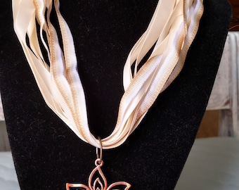 Copper and Gold Flower Pendant Ribbon Necklace