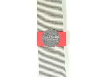 Wedding Mens Skinny Necktie- striped black  ivory Chambray- Laid-Back necktie
