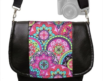 Womens SLR Camera Bag Dslr Camera Bag Purse Vegan Black Leather Pink Paisley  purple teal Zipper Padded Deluxe Model RTS