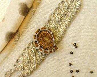 Macrame bracelet wide cuff AMMONITE center beige and white cuff bracelet tagt team