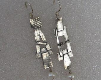 "Sterling  Pearl Kimona Earrings 2 1/4"" Long"
